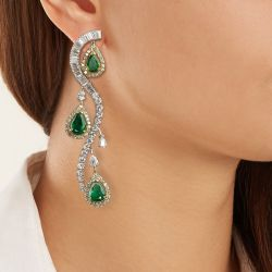 Halo Two Tone Pear Cut Green Drop Earrings