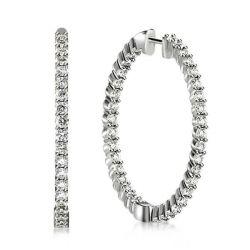 Classic Round Cut Silver Hoop Earrings