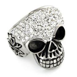 Skull Design Round Cut Engagement Ring For Halloween Gift