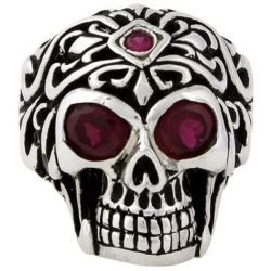 Skull Design Ruby Round Engagement Ring