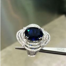 Double Prong Triple Row Oval Blue Engagement Ring