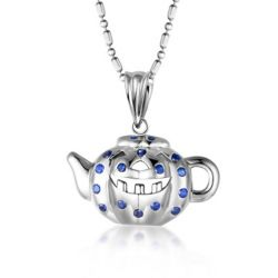 Pumpkin & Teapot Design Round Cut Blue Pendant Necklace