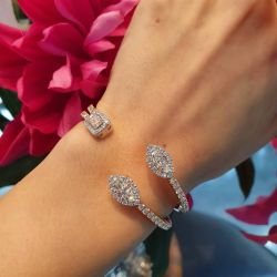 Rose Gold Halo Marquise & Emerald Cut Bracelet