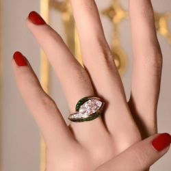 Marquise & Baguette Green Engagement Ring