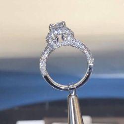 Vintage Scarf Design Halo Cushion Cut Engagement Ring