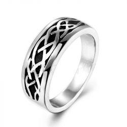 Embossing Setting Titanium Steel Men's Ring