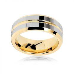 Concave-convex Design Tungsten Gold Men's Ring