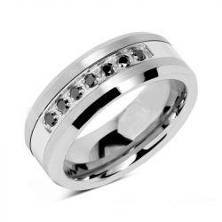 Black Stone Concave-convex Design Tungsten Gold Men's Ring