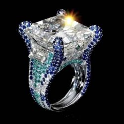 Unique 10 CT Brilliant Radiant Cut  Ring with Colorful Paved Diamonds