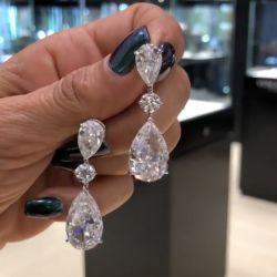 Fashion Design Pear & Round Cut Drop Earrings