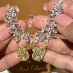 Yellow Pear Cut Drop Earrings