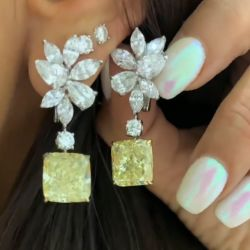 Fancy Yellow Radiant Cut Drop Earrings