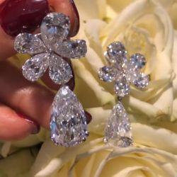 Flower Design Pear Cut Drop Earrings