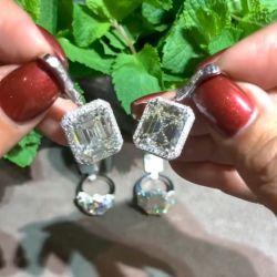 Double Prong Halo Baguette Drop Earrings