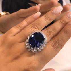 Unique Cocktail Double Halo Split Shank Oval Blue Engagement Ring