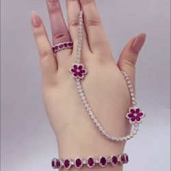Halo Oval Garnet Necklace & Bracelet & Ring Set