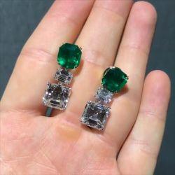 Double Prong Asscher Cut Green Drop Earrings