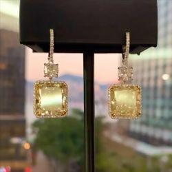 Double Two Tone Yellow Cushion Cut Drop Earrings