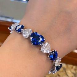 East West Heart Cut Blue Bracelet