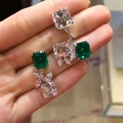 Unregular Design Asscher & Marquise Green Earrings
