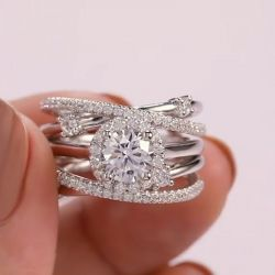 Halo Round Cut Insert Bridal Set