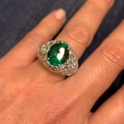 Green Oval Cut Engagement Ring