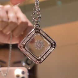 Floating Design Round Cut Pendant Necklace
