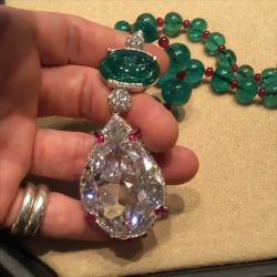 Pear Cut Emerald & Ruby Pendant Necklace
