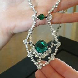 Emerald Cushion Cut Pendant Necklace