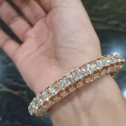 Rose Gold Round & Pear Cut Bracelet