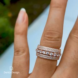 Rose Gold Triple Row Round Cut Wedding Band