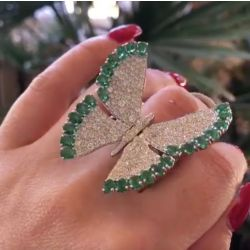 "Green ""Flying Butterfly"" Movable Round Cut Ring"