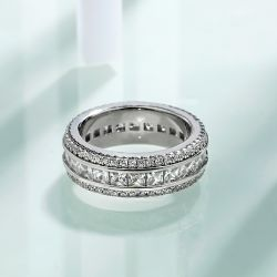 Triple Row Eternity Princess Cut Wedding Band