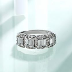 Halo Emerald Cut Wedding Band
