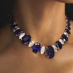 Oval & Marquise Cut Blue Sapphire Necklace