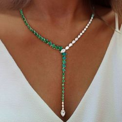 Pear Cut Green Created Sapphire Necklace