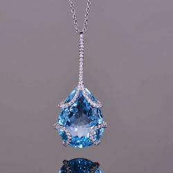 Blue Topaz Pear Cut Pendant Necklace
