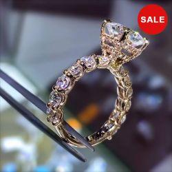 Hidden Halo Cushion Cut Engagement Ring