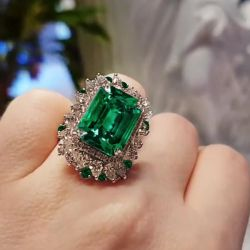 Halo Emerald Cut Green Engagement Ring