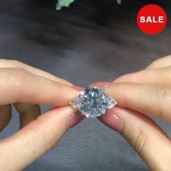 3.0 Ct Cushion Cut Halo 3pcs Wedding Ring Set