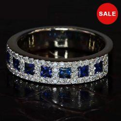 Halo Princess Blue Wedding Band