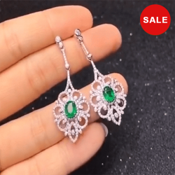Flower Design Oval Cut Sterling Silver Drop Earrings