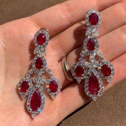 Halo Pear & Oval Garnet Earrings