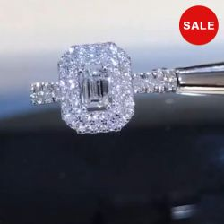 Emerald Cut White Halo Engagement Ring