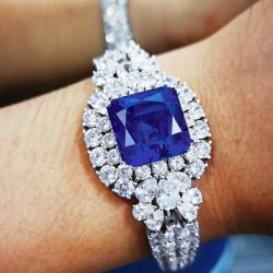 Flower Design Blue Cushion Cut Bracelet
