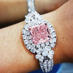 Flower Design Pink Cushion Cut Bracelet