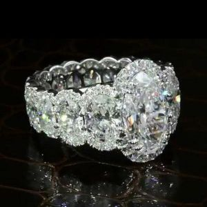 Halo Vintage Eternity Oval Cut Engagement Ring