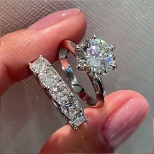 3.0 Ct Cushion Cut Halo 3pcs Wedding Ring Set