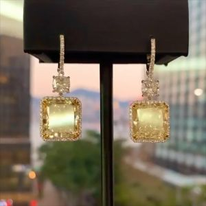 Double Two Tone Yellow Cushion Cut Drop Earrings