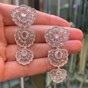Flower Design Oval Cut Drop Earrings